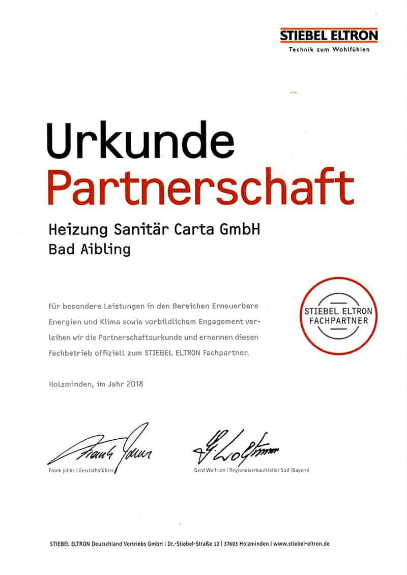 Urkundestiebel Eltron Fachpartner800x1131 Heizung Sanitär